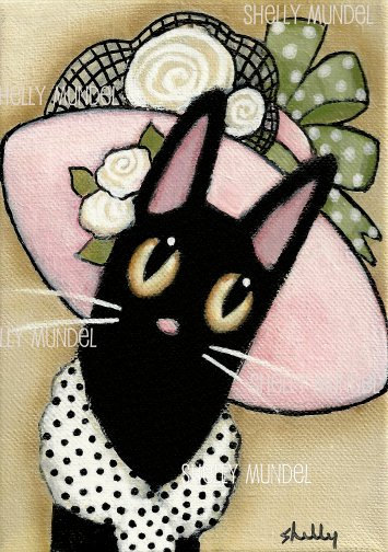 Items similar to Hand Painted Original Art Black Cat Lady in a Hat Folk Art by Shelly Mundel on Etsy