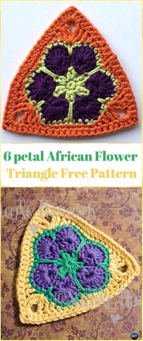Crochet 6 petal African Flower Triangle Free Pattern - Crochet ...
