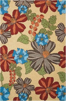 ba64f7aa443375 Nourison Sand South Beach SOU04 rug - Country   Floral Rectangle 8  x 10  6
