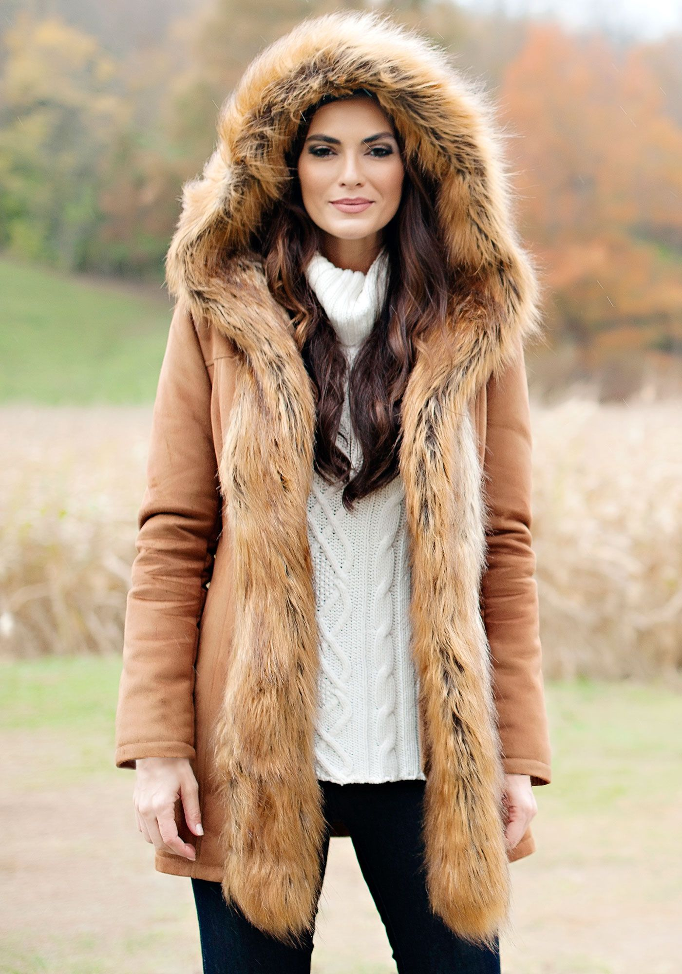 2b0fb64d7e9 Tobacco Faux Suede   Fur Mid-Length Hooded Coat