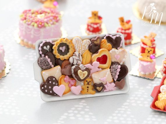 Valentine's Cookies and Chocolates Selection on Metal Baking tray (C) - OOAK - Miniature Food in 12th Scale for Dollhouse