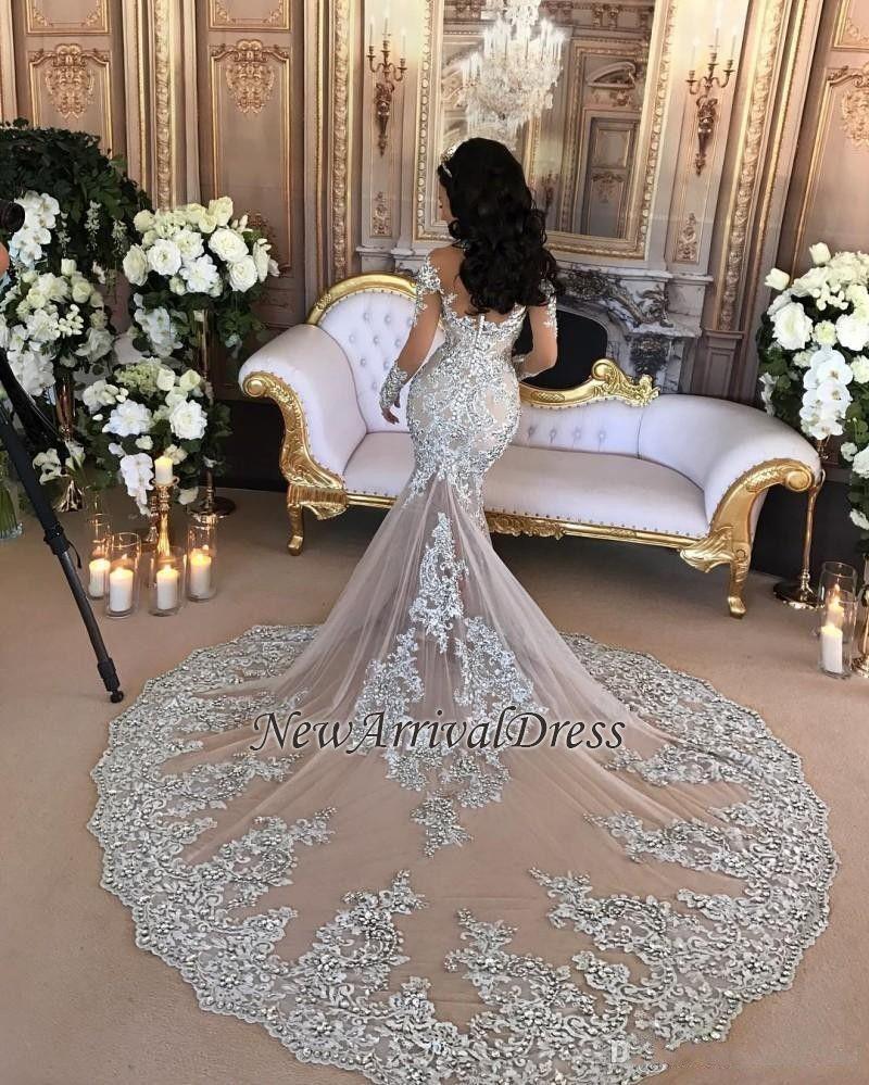 Lace longsleeve luxury silver highneck mermaid wedding dresses