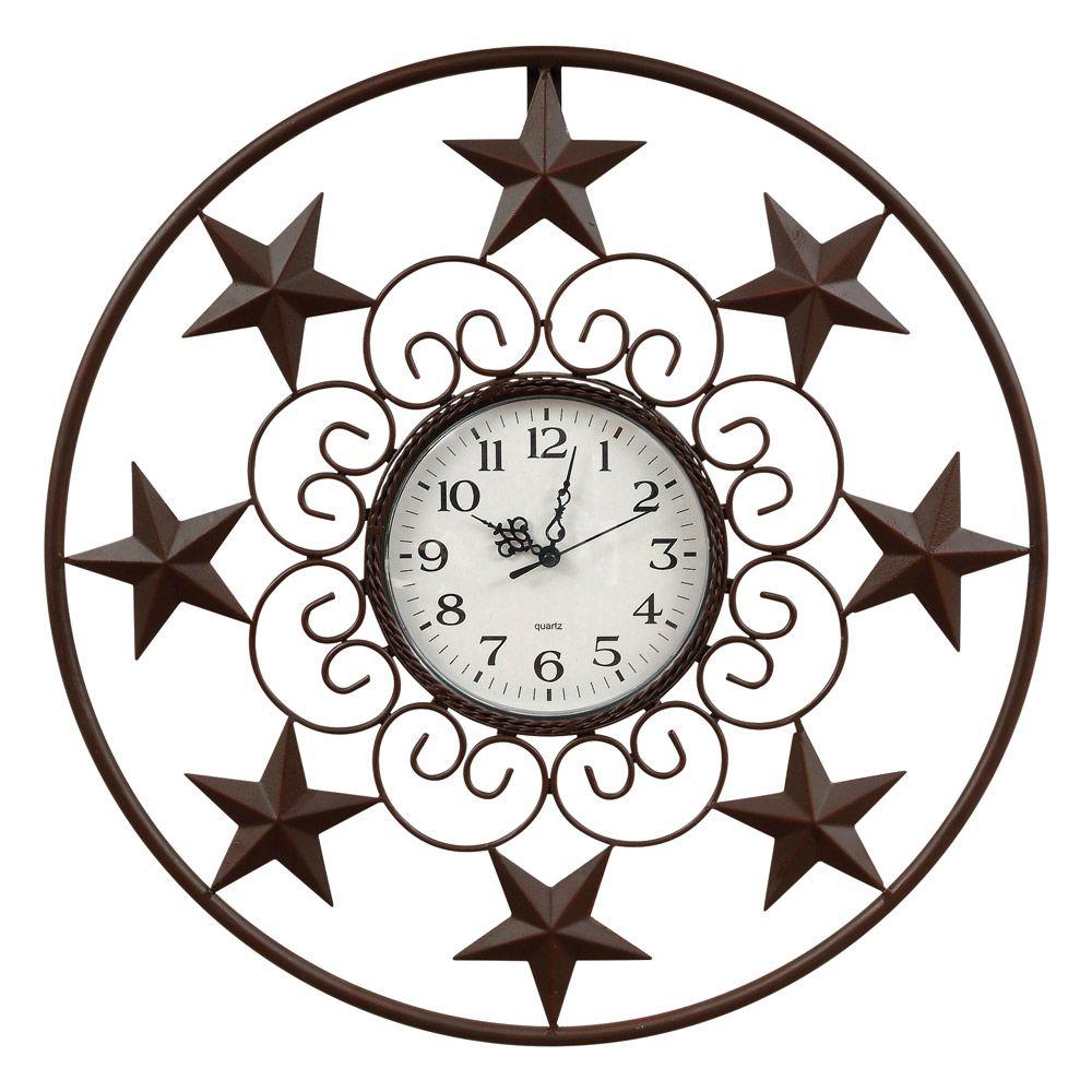 Star Scroll Metal Wall Clock Rustic Wall Clocks Metal Wall Clock Wall Clock