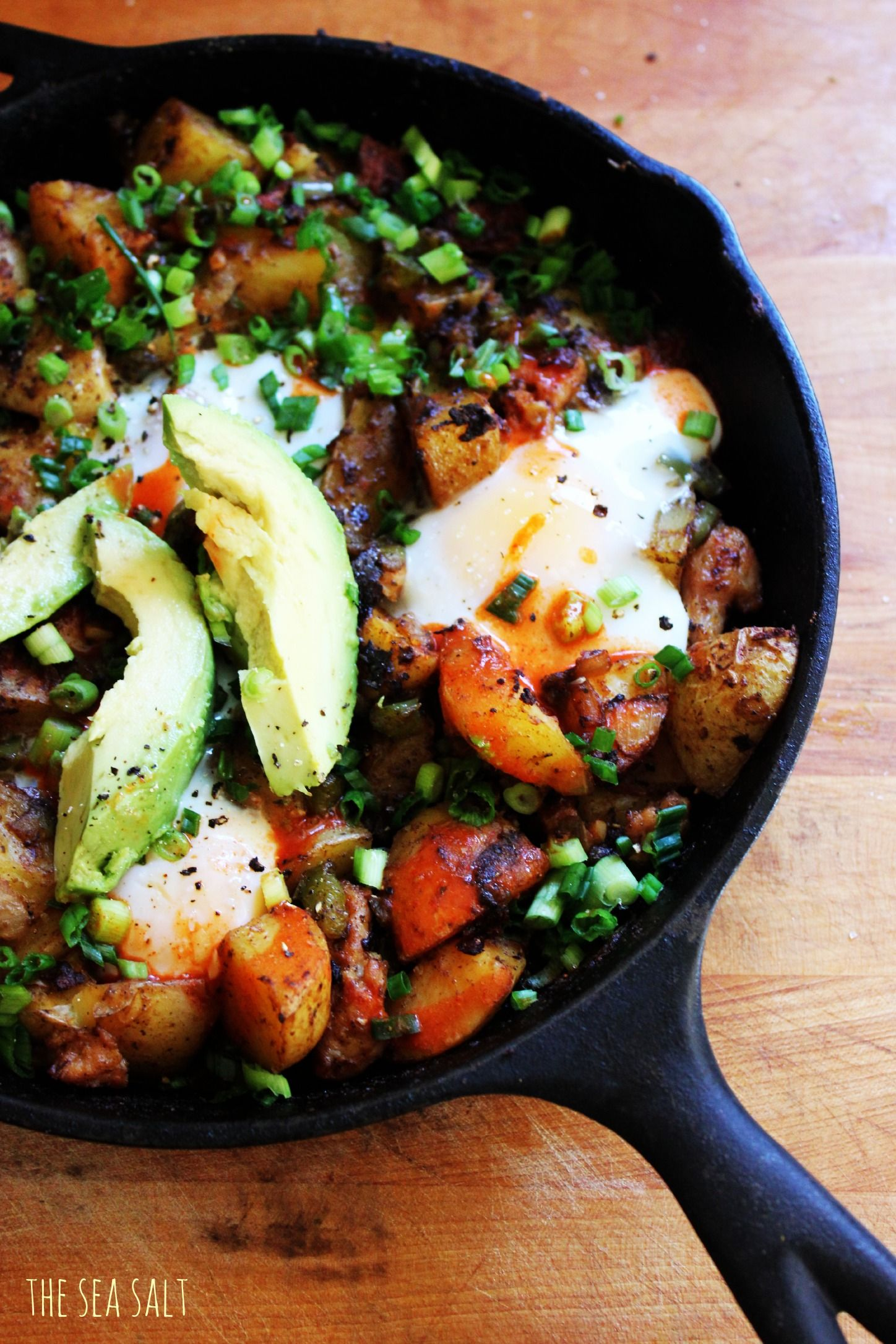 Easy Make Ahead Breakfast: Smoky Potato, Onion and Pepper Skillet with Chicken Sausage from The Sea Salt