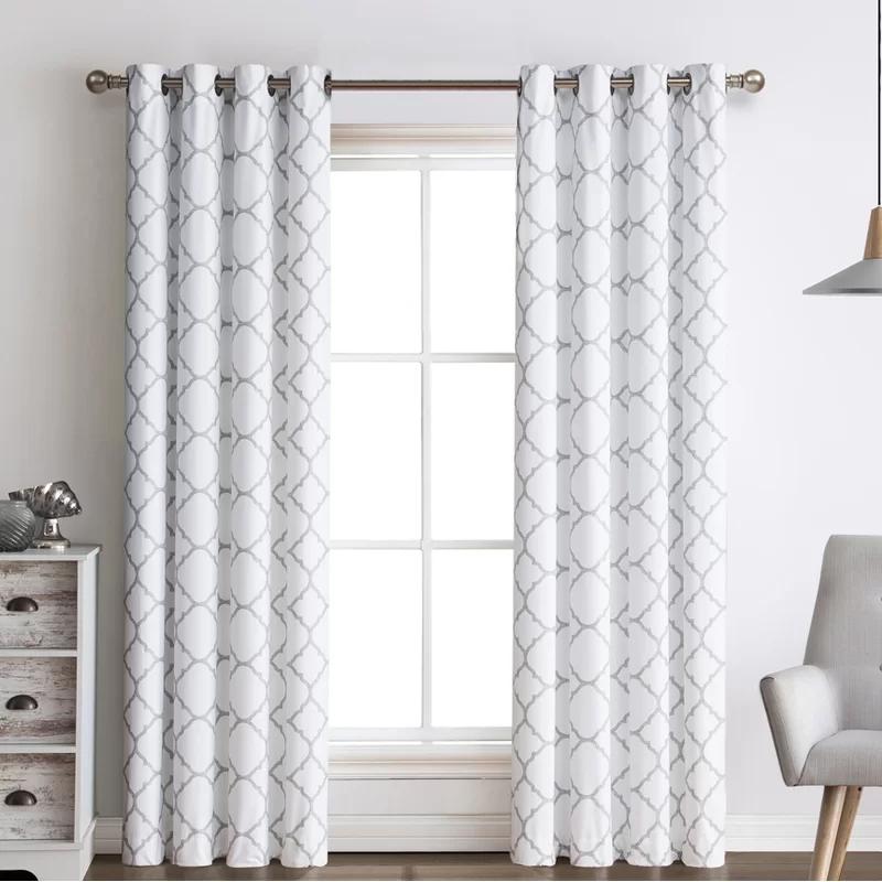 Griner Quatrefoil Elegance Geometric Room Darkening Grommet Curtain Panels Grommet Curtains Panel Curtains Grommet Top Curtains