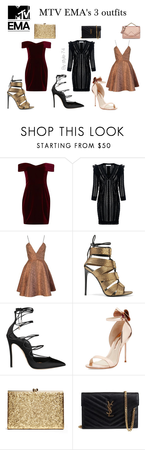 """""""MTV EMA's 3 outfits for the red carpet"""" by style-74 ❤ liked on Polyvore featuring Nicholas, IRO, Joana Almagro, Tom Ford, Dsquared2, Sophia Webster, Yves Saint Laurent and Karl Lagerfeld"""