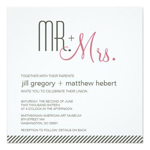 """Retro Modern Wedding 5.25"""" Square Invitation Card"""