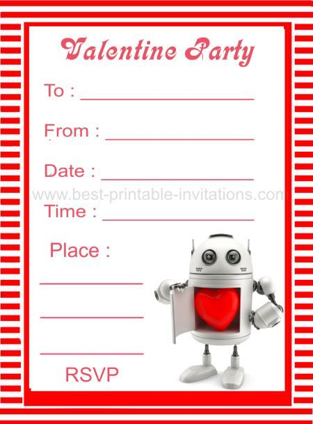 Robot Valentine\u0027s Day Party Invitations Free printable invites from