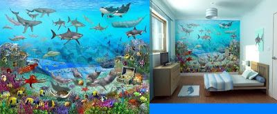 Dormitorios infantiles con vinilos pegatinas paneles Papeles murales con diseno de paisajes