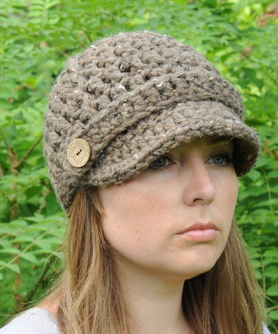 Hand Crocheted Newsboy Hat / Women\'s Hat / Crochet Hat / Brimmed ...