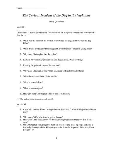 The Curious Incident Of The Dog In The Nighttime  Study Questions