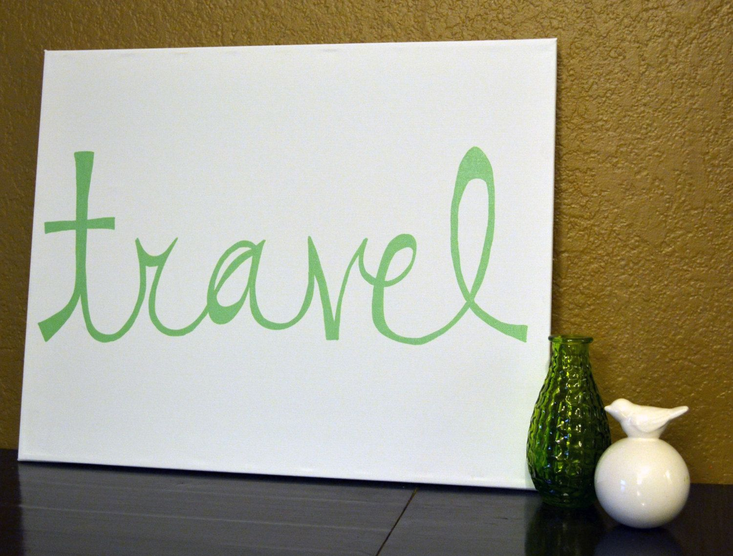 Mint green and white travel canvas painting quote wall art wall