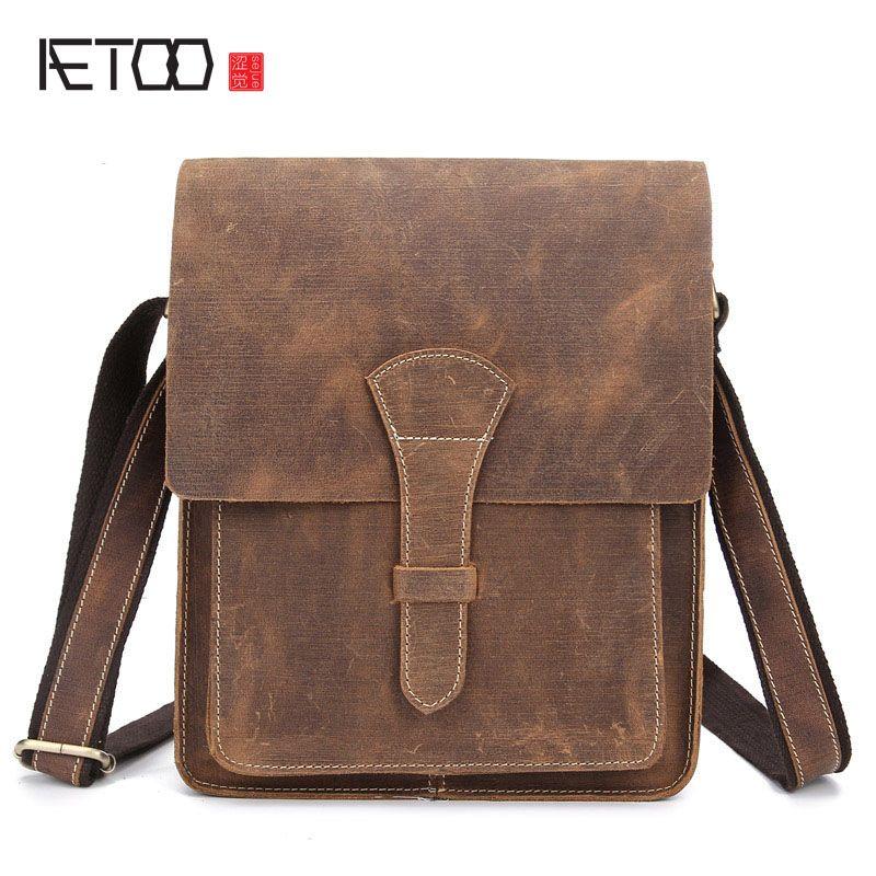 b217cfe31d AETOO Men s leather briefcase Messenger bag men s handbag Guangzhou leather  bag crazy horse skin
