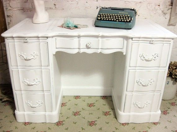 Vintage Shabby Chic office | Vintage Painted Cottage Chic Shabby White French Provincial Reception ...