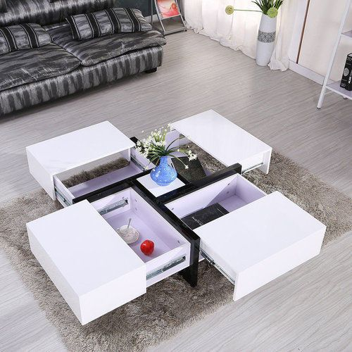 Pin By Home And Garden Furniture On Black And White Coffee Table High Gloss Space Saver Modern Tea Living Room Home Coffee Table Design Modern Modern Furniture Table Tea Table Design