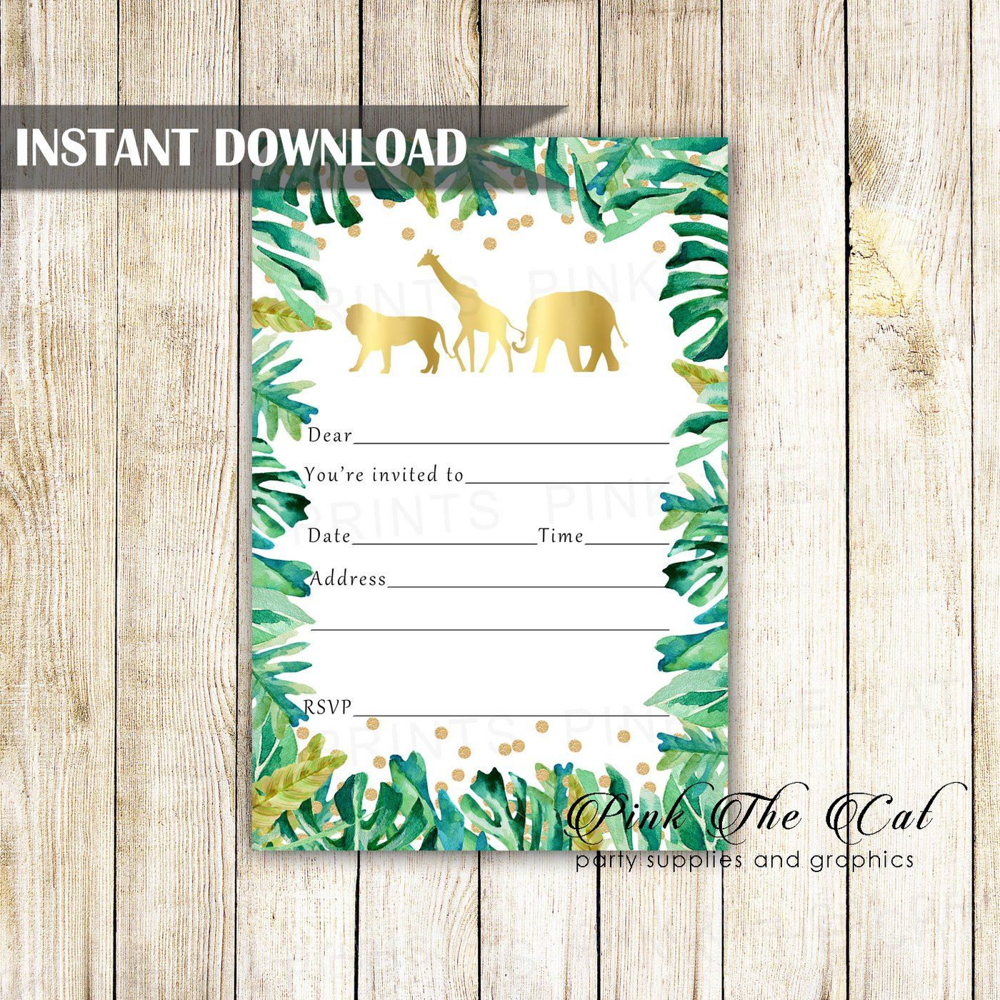 Jungle Invitation Fill In Blank Gold Green Birthday Printable