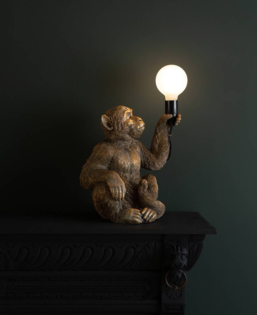 Sitting Monkey Lamp Koko Monkey Holding Bulb Lamp Lamp Beautiful Lamp Brass Pendant Light