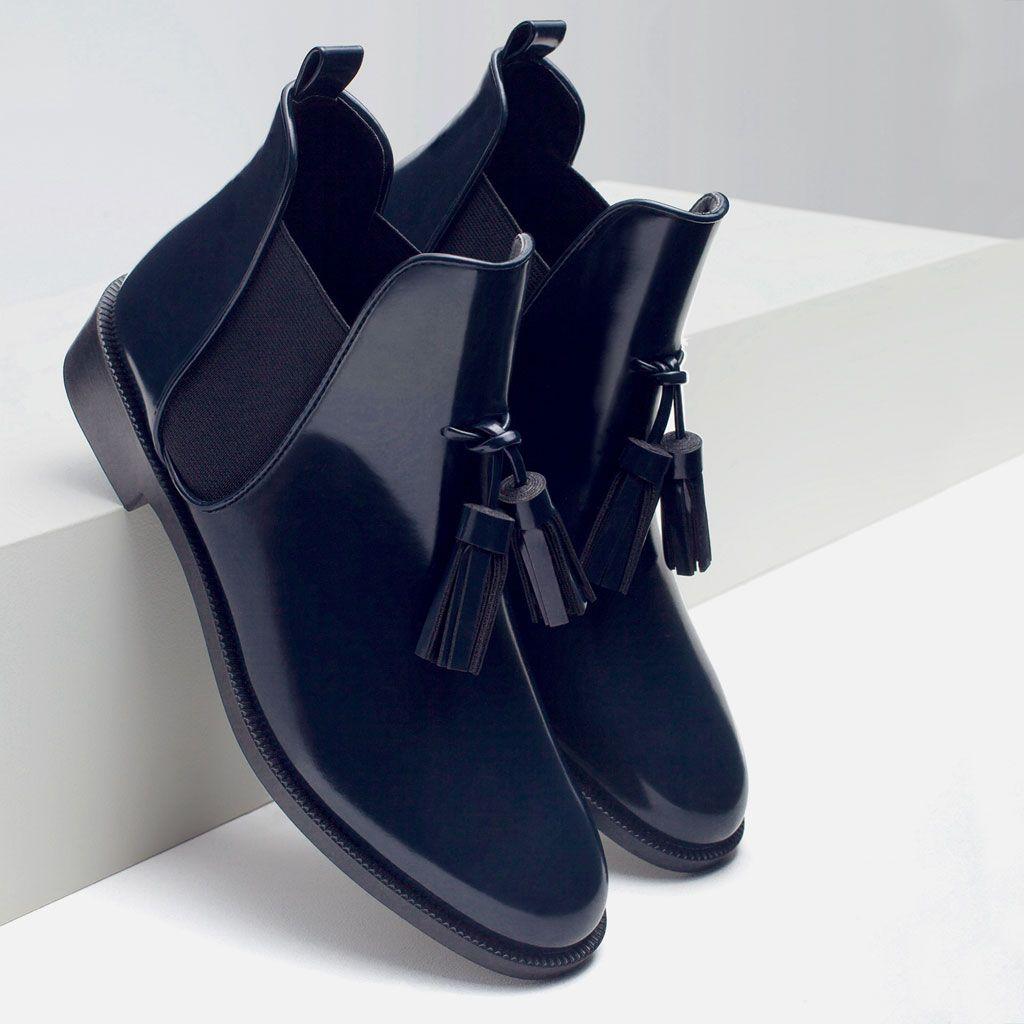 2e185190b634 BOTTINES PLATES À HOUPPES-Bottes et bottines-Chaussures-FEMME