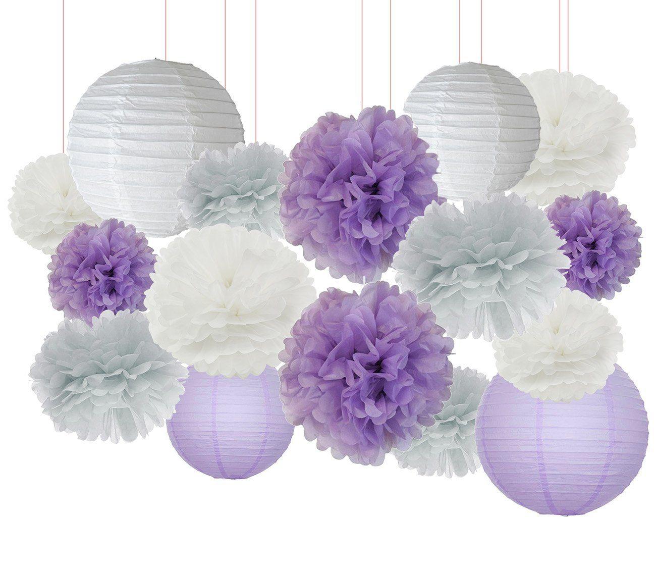 3f9906243d77 AmazonSmile  Furuix 16 pcs White Lavender Grey Purple 10inch 8inch Tissue  Paper Pom Pom Paper
