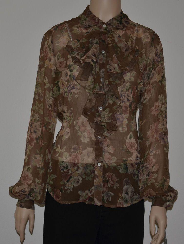 NWT Lauren Ralph Lauren Brown Floral silk long sleeve blouse size medium $ 45.99 with Free Shipping