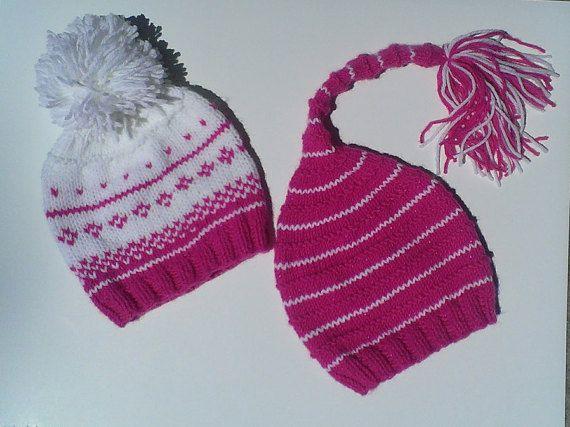 a4e71289022 elf pink hat pink pom pom hat stripe knit hat by UniqueKnitDesign ...