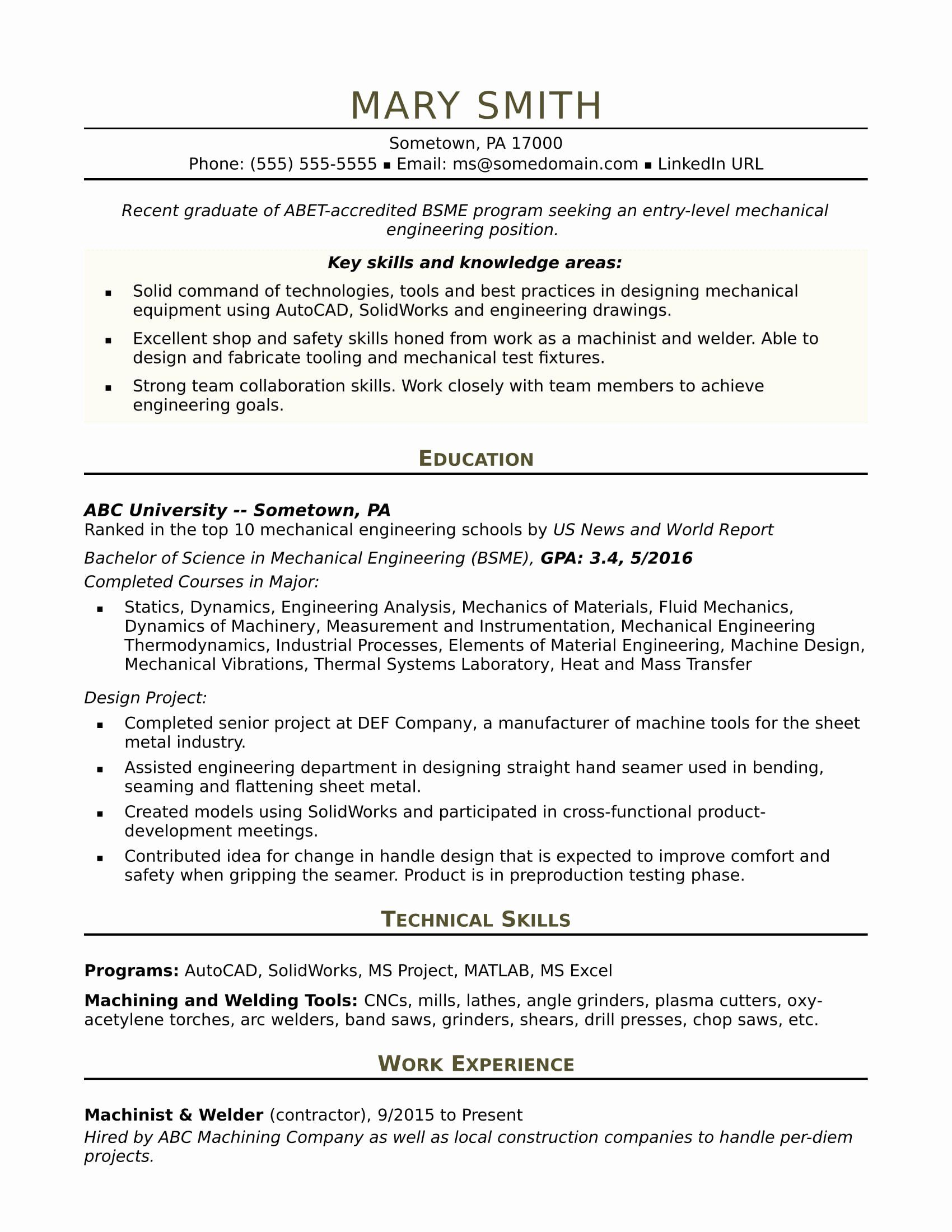 Technical Skills For Mechanical Engineer Resume Awesome Sample Resume For An Entry L In 2020 Engineering Resume Templates Mechanical Engineer Resume Engineering Resume