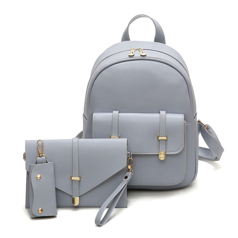 530194be9458 3 PCS PU Leather Women Backpacks Students Schoolbags - US 26.53 ...