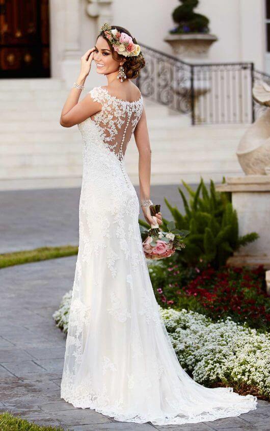 Satin Sheath Illusion Neckline Wedding Dress