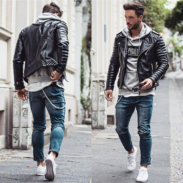 Rock A Gray Hat And Leather Jacket For Fall: Leather Jacket Outfits, Men Casual