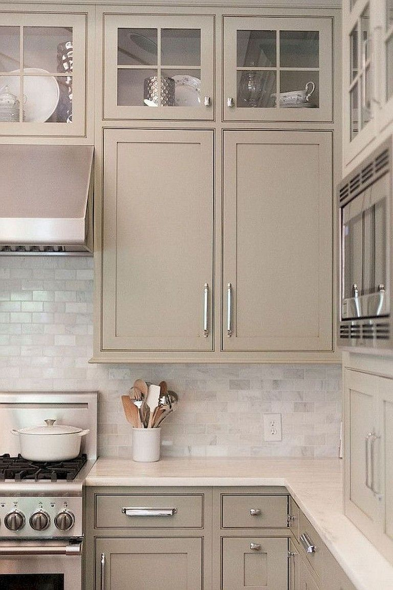 70 Beautiful Farmhouse Kitchen Cabinet Makeover Ideas Painted Kitchen Cabinets Colors Beige Kitchen Taupe Kitchen Cabinets