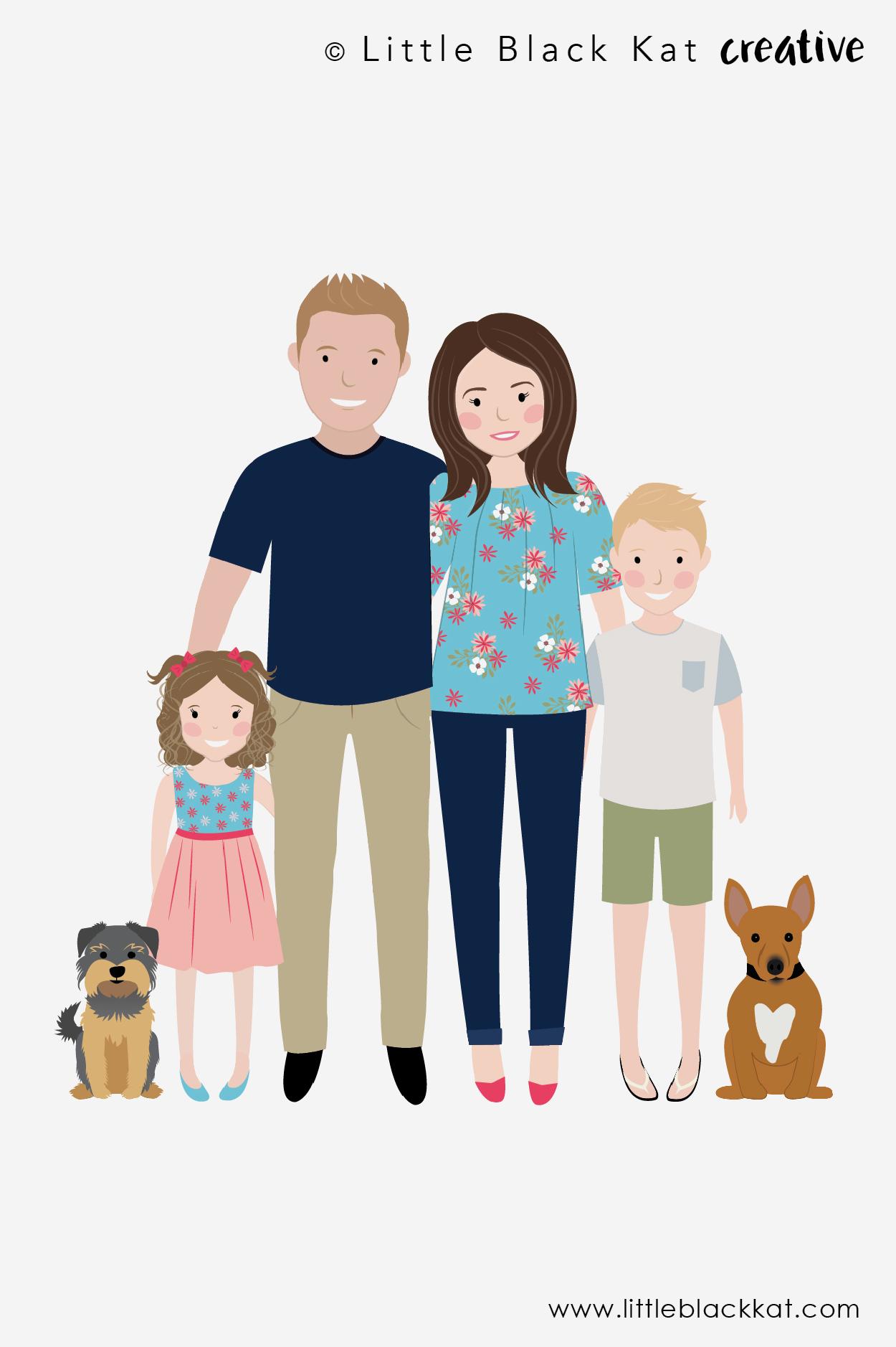 Family Photo Cartoon : family, photo, cartoon, Family, Portrait, Illustration,, Custom, Cartoon, Drawing,, Digital, Personalised, Christmas
