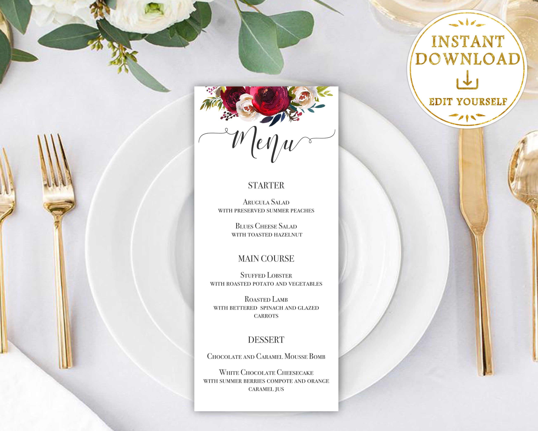 Wedding Menu Template Burgundy Flower Wedding Printable Menu