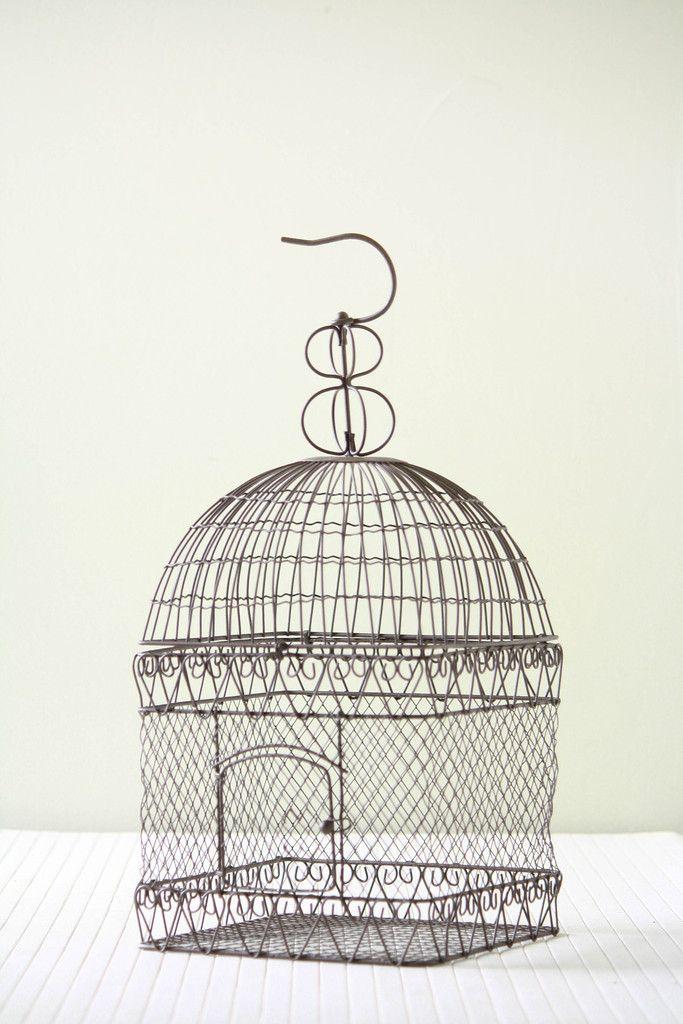 Hanging Metal Bird Cage Bird Cage Metal Birds Wire Sculpture