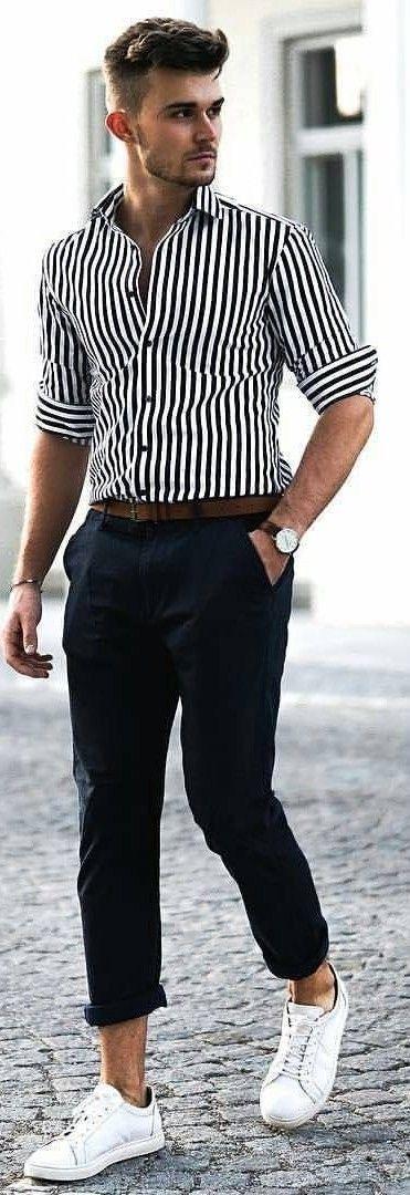 314a65962d 40 Evergreen Vertical Striped Shirt Outfits For Men | Men's Street ...