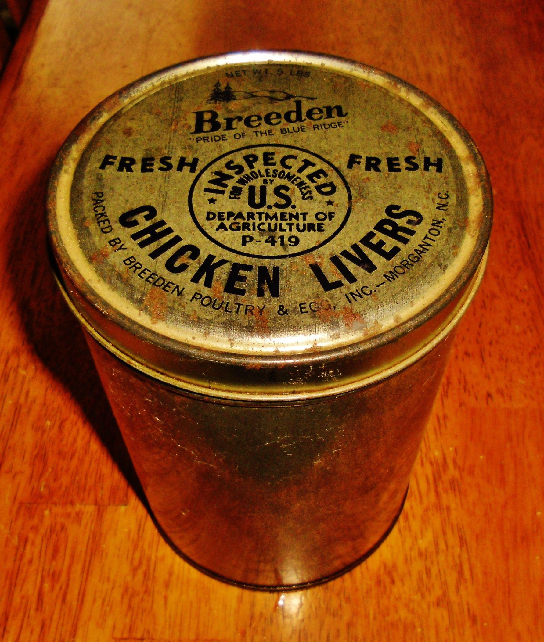 Breeden Chicken Livers tin, Morganton, North Carolina.