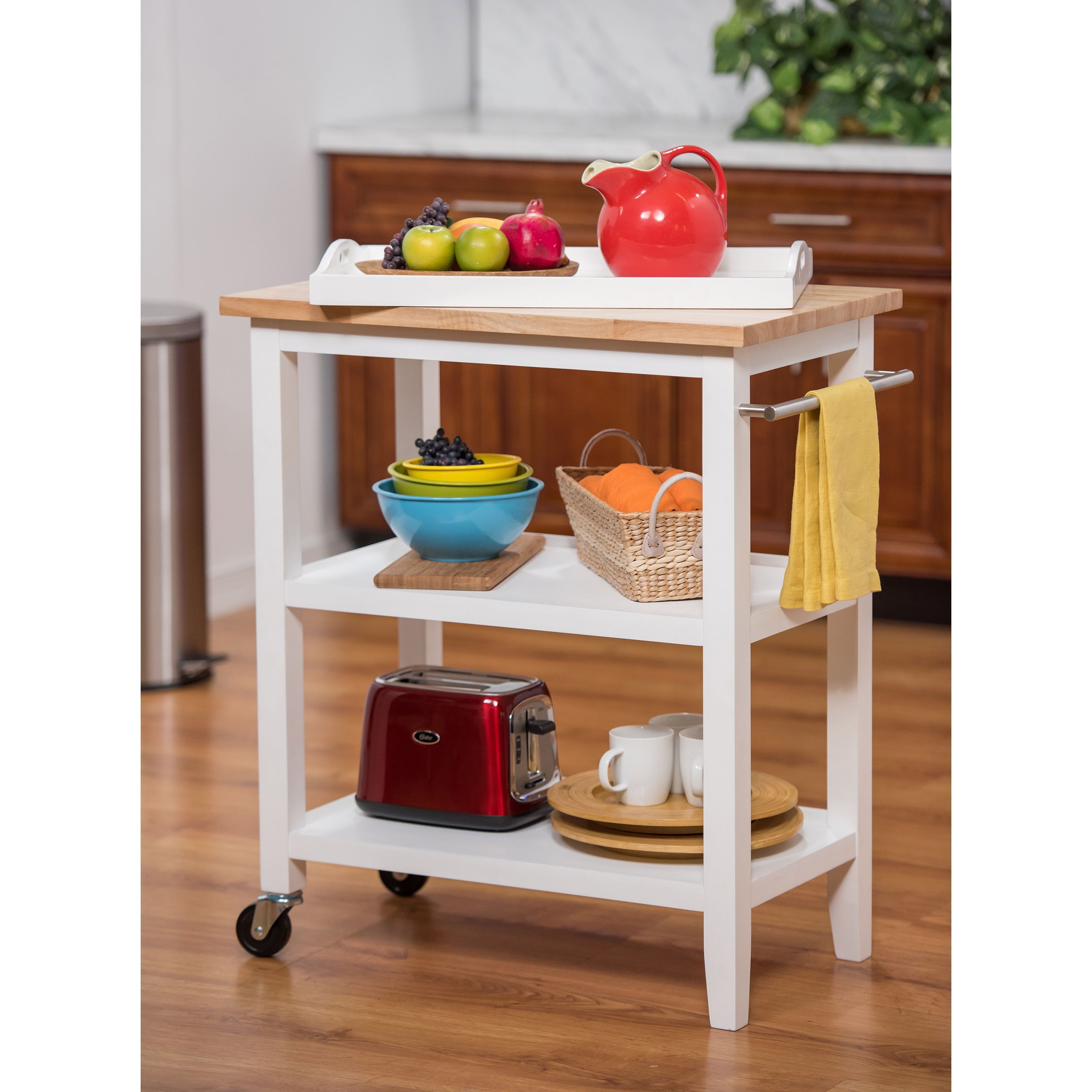 Wood Kitchen Cart w/ Pull-Out Tray (Tbflwh-1403), White