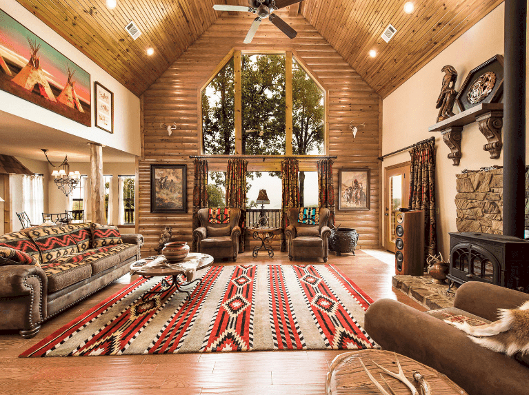 101 Southwestern Living Room Ideas Photos In 2020 Cabin Interior Design Log Cabin Interior Log Home Interiors #southwestern #living #room #ideas