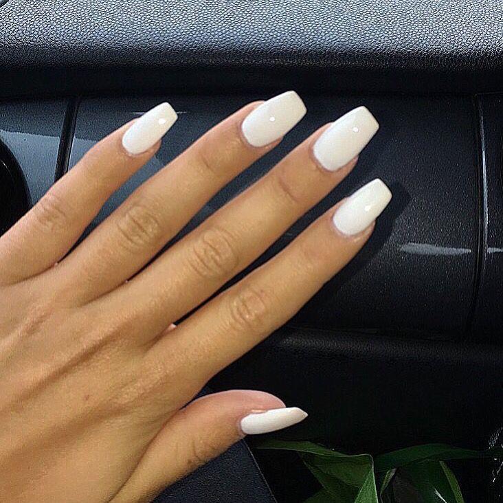 White Coffin Nails White Manicure Powder Nails White Acrylic Nails