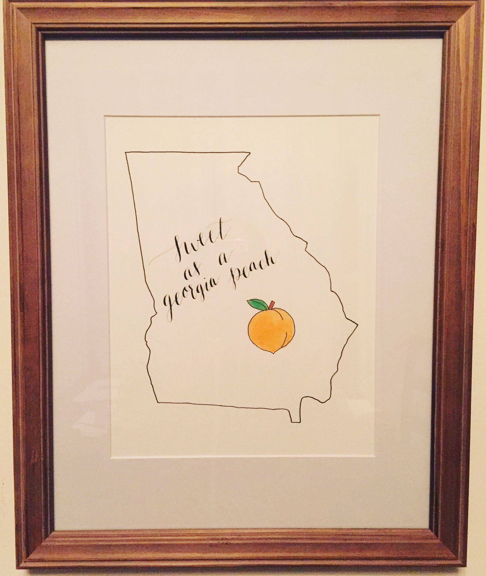 """Hand lettered """"sweet as a Georgia peach"""" calligraphy print. Check out www.etsy.com/shop/Lawandletters for more custom calligraphy!"""