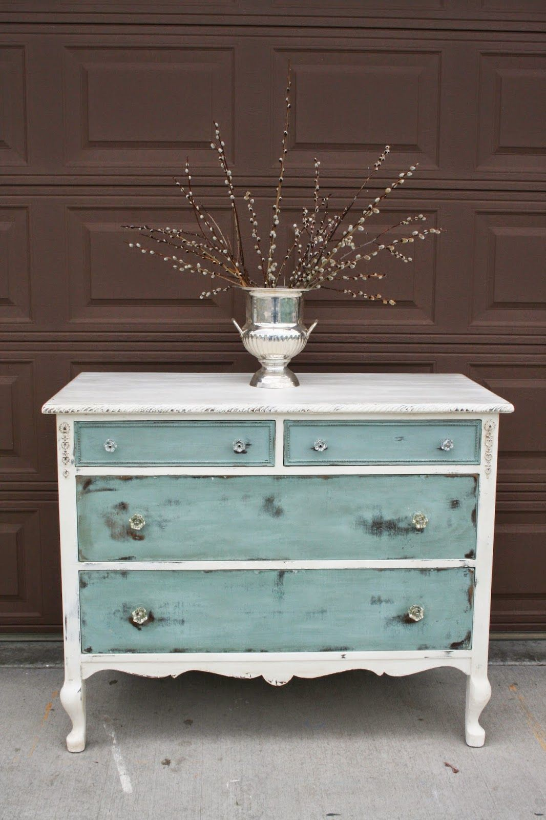 white with turquoise Más Restored Dresser, Refurbished Dressers, Antique ... - ANNIE SLOAN DUCK EGG & CC CALDWELLS At Long Last... ⊱♢♢LOVE YOU