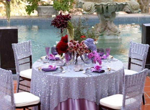 Lavender Purple Sparkle Wedding Reception Table Cloth