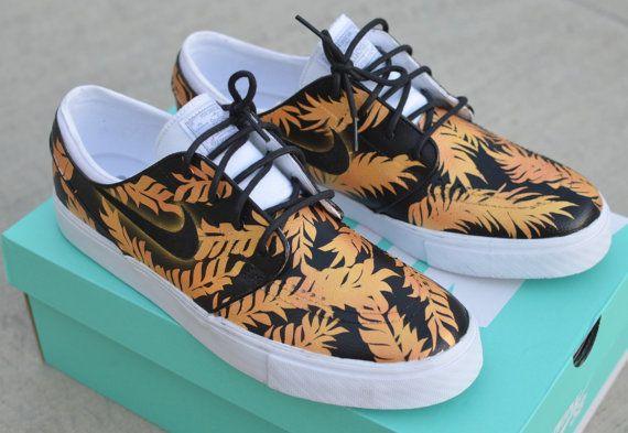 4ab958b3df Custom Black   Gold Tropical Floral Nike SB Zoom Stefan Janoski ...