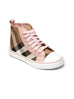 b1178c7d50b5 Burberry Little Girl s   Girl s Check High-Top Sneakers