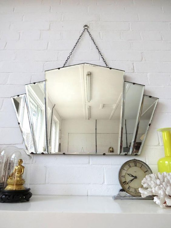 Vintage Large Art Deco Bevelled Edge Wall Mirror Or By Uulipolli: