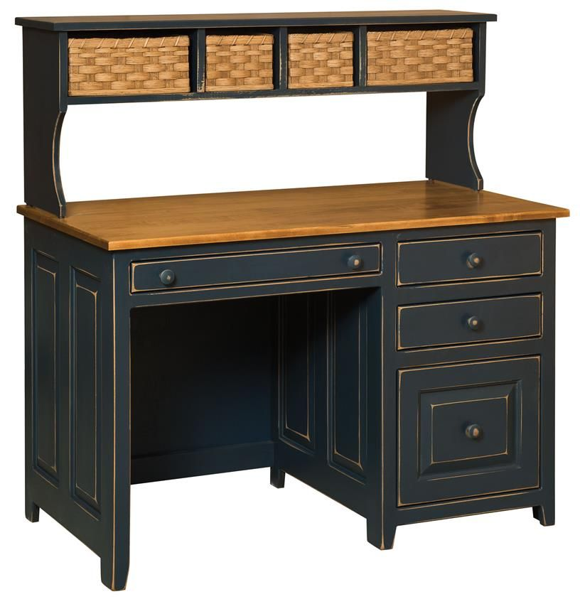 Savannah Pine Amish Desk With Baskets Solid Wood Desk Furniture