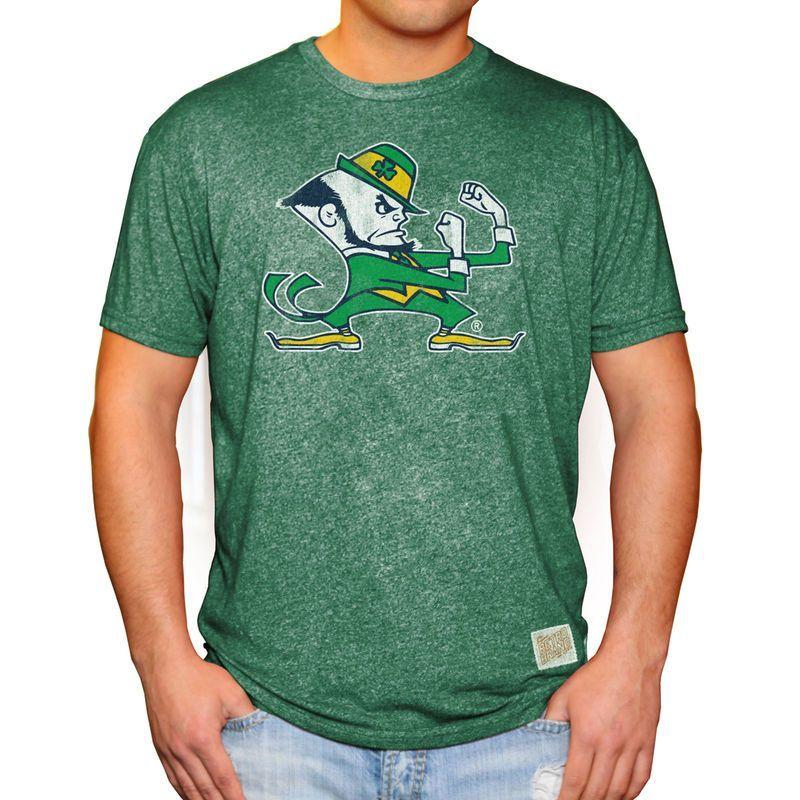 b37d7b13b7e42 Notre Dame Fighting Irish Original Retro Brand Leprechaun School Logo Mock  Twist T-Shirt - Green