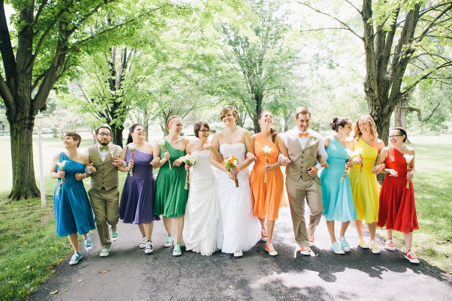 Rainbow Theme Wedding Jessica And Courtneys Rainbow Themed Hudson