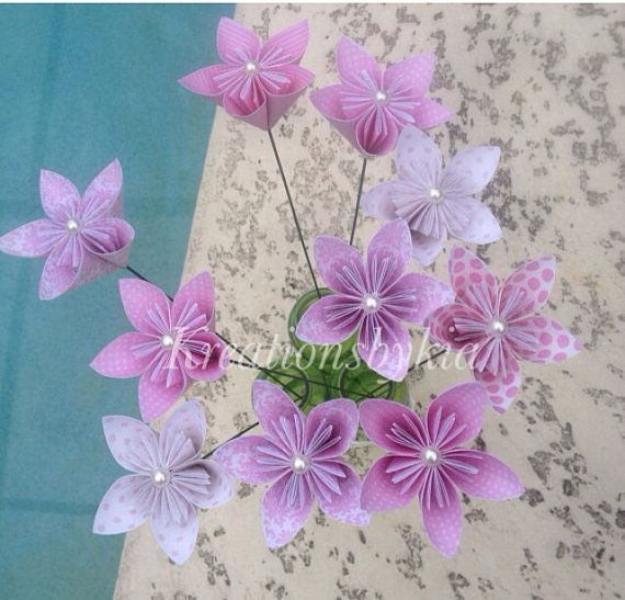 Pinkness- Paper Flower with Stem // Origami Kusudama Paper Flower ...