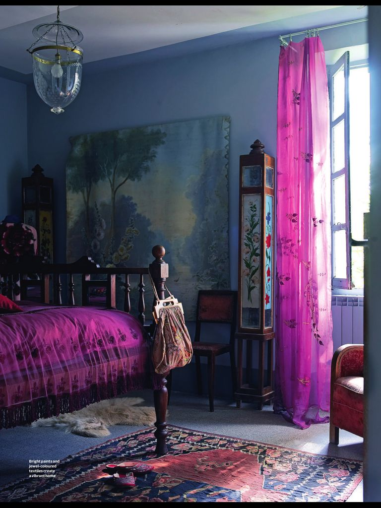 Purple Bohemian Bedroom purple curtains & bedspread | mountain's majesty, wisteria & blue
