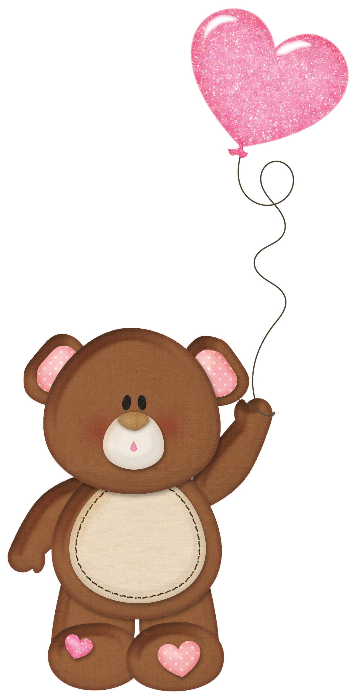 brown teddy with pink heart balloon